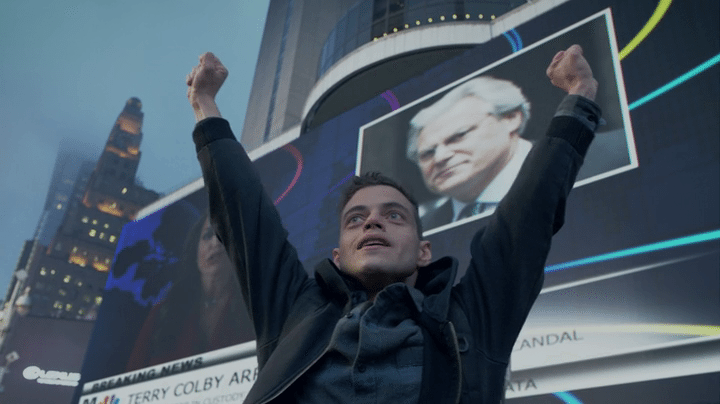 Rami Malek plays Elliot, a cyber-security engineer.